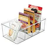 MetroDecor mDesign Caja de almacenaje – Caja organizadora apilable con 4 Compartimentos para Guardar Alimentos – Moderno Organizador de Cocina para Sobres de Sopa, Especias y Mucho más – Transparente