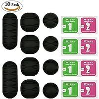 Philonext set de 10 Clips para Cables, resistentes y autoadhesivoas en color negro, organizador de Cablesmultiusos para hogar y oficina – Tamaño: 1,1 pulgadas, 1,35 pulgadas, 2.6 pulgadas
