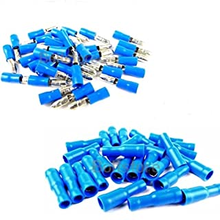 Bullet Crimp Connectors for Audio Wiring with Fully Insulated Terminal Crimp Fittings in Blue