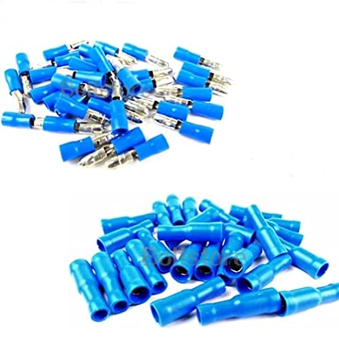 100x Blue Bullet Connector Insulated Crimp Terminals for Electrical Wiring - 50x Female and 50 (Jack Socket Pin)