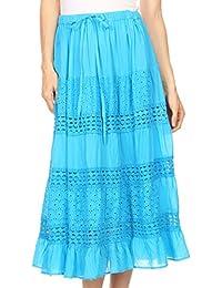 Sakkas Geneva Cotton Eyelet Skirt with Elastic Waistband