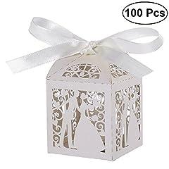 Idea Regalo - Pixnor 100pz matrimonio dolci caramelle scatole regalo favore - coppia Design (bianco)