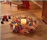 Dekofigur Herbstdeko Herbstkranz Tischkranz in schönen Herbstfarben Herbsttischkranz mit Verschiedene Naturmaterialien