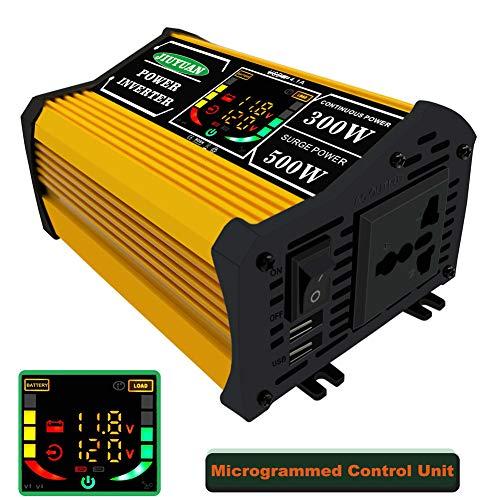GMtes 300W Car Power Inverter DC 12V bis AC 220V, mit Color Display,1 AC Universal Ports Outlets und 2 USB Charge Port