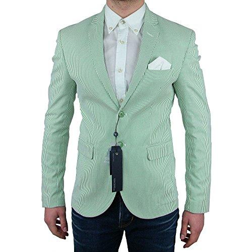 422a01ecc755a Giacca Sartoriale Estivo Slim Fit Uomo Vincent Trade Verde righe bianche  Casual Sportiva Made In Italy