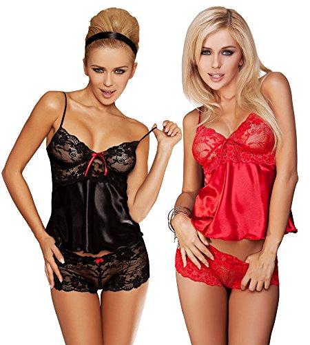 r-dessous Damen Nachtwäsche Satin Spitze Wäsche Set Top + Shorts Shorty Pyjama kurz Schlafanzug Frauen Rot