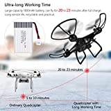 allcaca S28W RC Drone 2.4Ghz 6-Axis Gyro 4CH Remote Control Quadcopter with 23 Mins Super Long Flight and Altitude Hold, 3D Flips, Headless Mode, One Key Return for Kids & Beginners