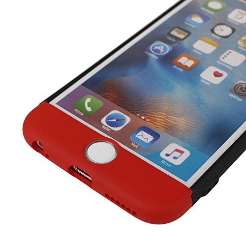 iPhone 6S Plus Hülle Outdoor, iPhone 6 Plus Case, Rosa Schleife Slim Stoßfestes Schutzhülle Hybrid Cover 3 in 1 Armor Handyhülle Plastik Hart Cases Bumper Robuste Hülle für iPhone 6S Plus / 6 Plus Sch Rot schwarz