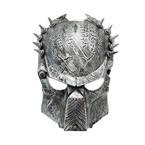 Máscara Guerrero Dentada, acogedoras Adultos máscara de Halloween del Horror de rol y del Partido de Maquillaje adecuados para la Mascarada / Partido / Bar (Plata)