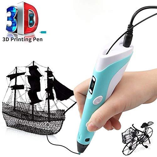 Bblank Intelligenter 3D-Druck Stift Mit LCD-Kompatiblen Pla/ABS Verbrauchsmaterialien USB-Lade-Und Malgeschirr Stereo Art Drawing Maker Art DIY Und Spielzeug Junge Mädchen Erwachsene,Blue - Maker 3d-kunst