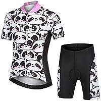 LSHEL Niños Niñas Secado Rápido Maillot de Ciclismo Conjunto de Jersey Manga Corta + Pantalones Cortos Transpirable Ciclismos Traje, Bebé Panda, 10-11años/EU: L(Etiqueta: XL)