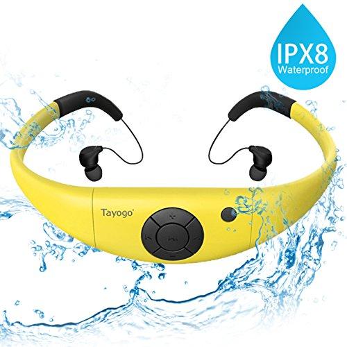 Tayogo Reproductor de MP3 Natación a prueba de agua con auriculares 8GB IPX8 Hi-Fi bajo el agua 3m Resistente al calor 80 ℃ Perfecto para correr Natación Senderismo para caminar Spa y otros deportes con agua o sudor (Amarillo)
