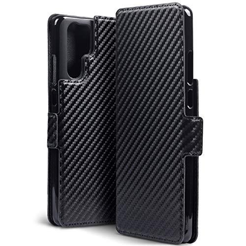 TERRAPIN, Kompatibel mit Huawei P30 Pro Hülle, Leder Tasche Case Hülle im Bookstyle mit Standfunktion Kartenfächer - Schwarz Karbonfaser Dessin EINWEG