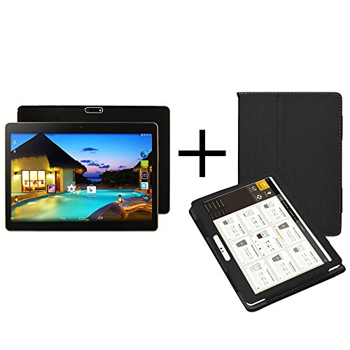 Smart Tablet, 10,1 Zoll MTK6592 Achtkern 800 * 1280 Android 4.4 Dual-Karte Dual-Kamera Handy Tablet Wifi Phablet,Tablet-Computer .Tablet + Ledertasche (Schwarz)