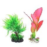 sourcingmap Kunststoff Aquatic Gras Aquarium Pflanze Dekoration, Grün/Pink, 2-teilig