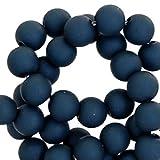 Sadingo Acrylperlen, Kunststoffperlen matt, Bunte Bastelperlen - 10 mm - 50 Stück - Armband selber Machen - Perlen Mix, Farbe:Night Blue