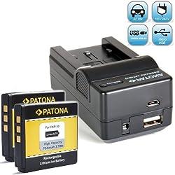 Bundlestar Chargeur 4en 1avec station de chargement pour Fuji NP-50NP-SA1E 50a + 2x PATONA Batterie de rechange pour Fuji NP-5050a Convient à --Fujifilm FinePix XF1x10x20F900EXR F850EXR F800EXR F770EXR f750exr F660EXR F600EXR F550EXR F500EXR F300EXR F70EXR --Real 3D W3--XP200XP150XP100--Nouveauté avec connexion micro USB.