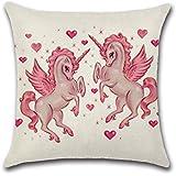 Lovely Funda de almohada en forma de unicornio carcasa personalizable para ropa de niños niñas, Excelsio Cute Colorful manta funda de almohada Funda de cojín decoración para el hogar