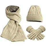 Feoya Damen Schal Mütze Handschuh Set Warme Winter Set Gestrickt Beanie Kappe Lange Strickschal