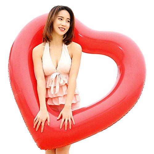 hou zhi liang aufblasbar Sommer Pool Spielzeug Herzform Swim Ring Wasser Floß Sicherheit Doppelter Schutz für Erwachsene