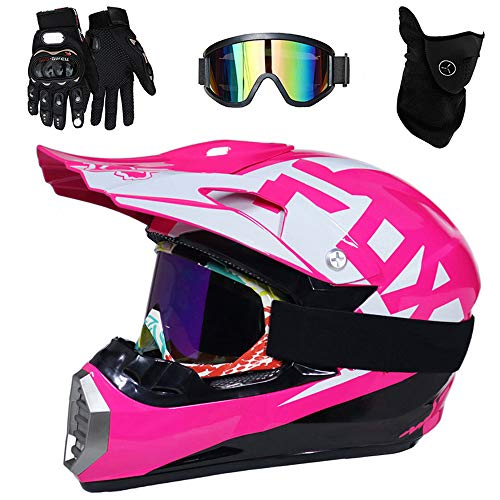 Motorradhelm, Full face Motocross Helm Sport Adventure Racing Motorrad-Helm Motocross Schutzhelm MTB Schutz Sicherheit Helm mit Handschuhe Maske Brille,S52~53CM ()
