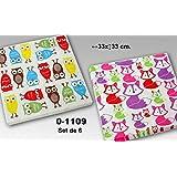 DonRegaloWeb - Set de 6 paquetes de 20 servilletas de papel de triple capa decoradas con buhos y con zorritos y multiples colores