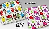 DonRegaloWeb-Set di 6confezioni da 20tovaglioli di carta triplo strato decorate con Gufi e con Zorritos/Multiples colori