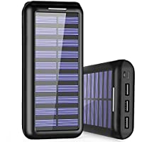 PLOCHY Power Bank 24000mAh Solar Charger, Portable Charger with Dual Input(Lightning & Micro) and 3 Fast Charging USB Port External Battery Pack for iPhone, Samsung Galaxy and More(Black)
