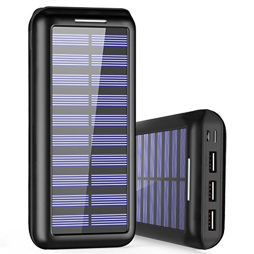 Externer Akku PLOCHY 24000mAh Solar Powerbank, Solar Ladegerät mit 3 Ausgänge und Lighting & Micro Dual Input Power Bank Handy für iPhone, iPad, Samsung Galaxy und andere Smartphones(Schwarz) (Solar-power-batterien)