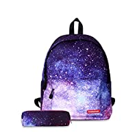 FANDARE Unisex Casual Daypack Backpacks Galaxy School Bag for Girls High School Teens Knapsack Women Travel Laptop Rucksack College Bookbag with Pencil Case Pouch Waterproof Polyester