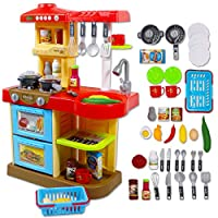 deAO KC2-R Toddler Kitchen Playset My Little Chef with 30 Accessories Role Playing Game in RED
