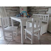 Preisvergleich für Best of Jam® Kindersitzgruppe aus europäischem Kiefernholz MASSIVHOLZ 1 Tisch 2 Stühle 1 Kindersitzbank mit Deckelbremse und Stauraum