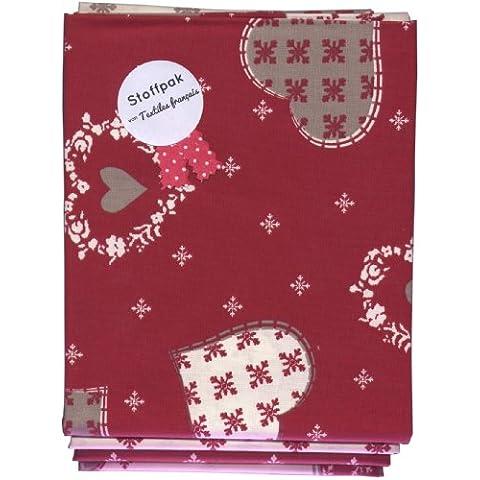 Stoffpak Set de telas - 4 telas de Navidad - colección de telas de coordinación | 100% algodón | 80 x 80 cm