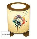 ilka parey wandtattoo-welt® Tischlampe Nachttischlampe Kinderlampe Schlummerlampe Lampe Pusteblume Blume Löwenzahn Aquarell mit Punkten tl054