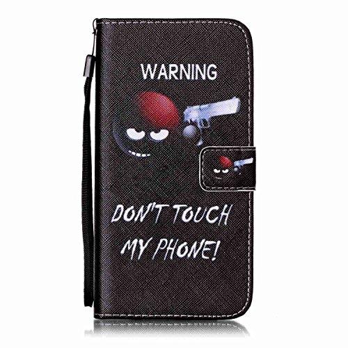 iPhone 8 Plus Hülle, STENES Stilvoll Serie Kartenfach Standfunktion Magnet Ledertasche Wallet TPU Stoßfänger Schutzhülle für iPhone 7 Plus / iPhone 8 Plus - Ballon / Blau Warnung / Schwarz
