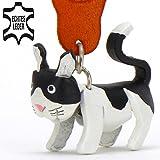 Katze Felix - Schlüsselanhänger Figur aus Leder von Monkimau in schwarz weiß - Dein bester Freund. Immer dabei! - 5x2x4cm LxBxH klein, jeweils 1 Stück