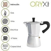 ORYX 5056022 Cafetera Inducción Aluminio 6 Tazas, Plateado, 17x21x12 cm