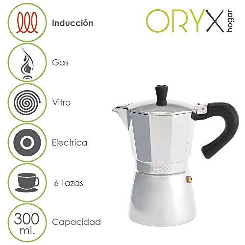 Oryx Cafetera Inducción 6 Tazas, Aluminio, Plateado, 17x21x12 cm