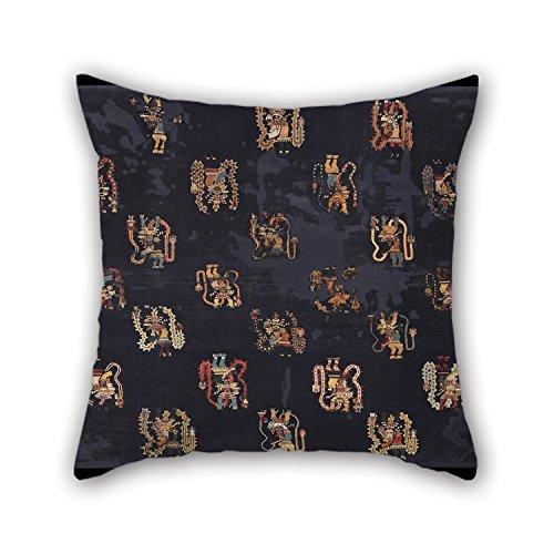 Slimmingpiggy Kissenbezug Ölgemälde Paracas-Stil - Zeremonieller Kamin mit Darstellung von übernatürlichen Wesen mit Anhängen, die Sich aus Ihrem BO-Kissenbezug ergeben, 40 x 40 cm für Erwachsene -