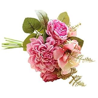 Vkospy Hydrangea Artificial Rose Dahlia Ramo de Flores para la decoración del Partido del hogar