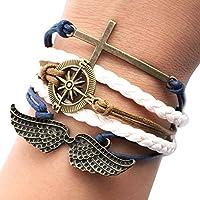Uming® Retro Vintage Fashion Handmade multicouche corde tressée Bracelet corde ami cadeau personnalisé Amitié Wrap Bracelet Bangle Infinity 8 Forme plaque de métal ( Sailor Series )