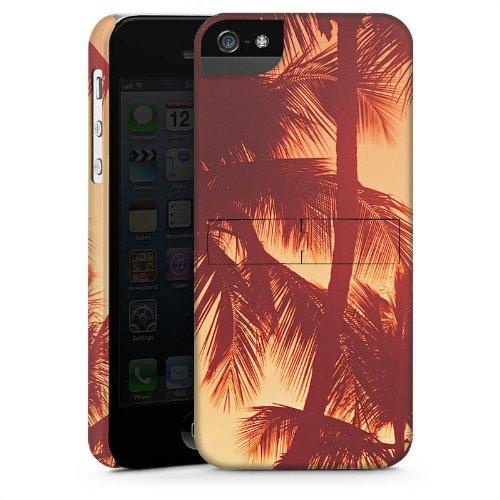 Apple iPhone 5 Housse étui coque protection Palmiers Soleil couchant Vacances CasStandup blanc