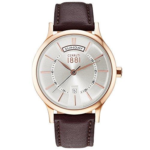 Cerruti cra128sr04br Varallo Reloj Reloj de hombre piel pulsera de acero inoxidable 3bar analógico Fecha Marrón