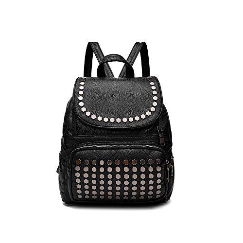 Saint Kaiko PU Leder Wanderrucksäcke Schulrucksäcke Rucksäcke Schulranzen Jungen Schulrucksäcke Jungen Schultasche Zum Reisen oder zur Schule Gehen (schwarz) schwarz