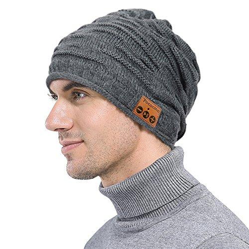 Pococina Kabellose Bluetooth Mütze, Weiche Bequeme Knit Beanie Hut mit Eingebauter Kopfhörer, kompatibel mit iPhone, Android Smartphone, iPad, andere Tablets und Laptops - Grau