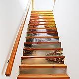 13pcs 3D cascada escalera auto - adhesivo pegatinas de pared adhesivos decorativos DIY Art Mural escaleras desmontables, pegatinas de vinilo