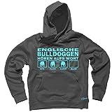 ENGLISCHE BULLDOGGE english Bulldog Bulldoggen - HÖREN AUFS WORT Unisex Hoodie Kapuzensweatshirt Pullover Fun Siviwonder dark grey L