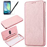 Coque Samsung Galaxy A3 2016, HB-Int 3 en 1 Housse Etui PU Cover avec Placage Coque + Transparente Soft Gel Silicone Back Arrière Folio Case Stand Fonction Bookstyle Coque de Protection Housse Leather Case Wallet Flip Protective Cover pour Galaxy A3 2016 Etui + 1 X Film de L'écran + 1 X Stylet - Rose Gold