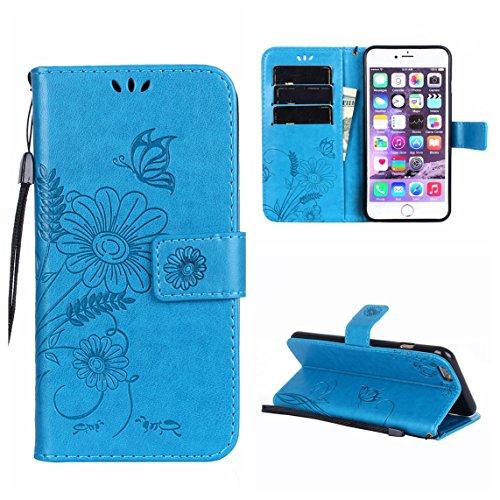 iPhone 6 Plus/6S Plus Coque, Voguecase Étui en cuir synthétique chic avec fonction support pratique pour Apple iPhone 6 Plus/6S Plus 5.5 (Fleurs et papillon II-Bleu)de Gratuit stylet l'écran aléatoire Fleurs et papillon II-Bleu