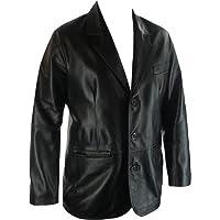 Unicorn Mens Real Leather Jacket Classic Suit Blazer Black #G4